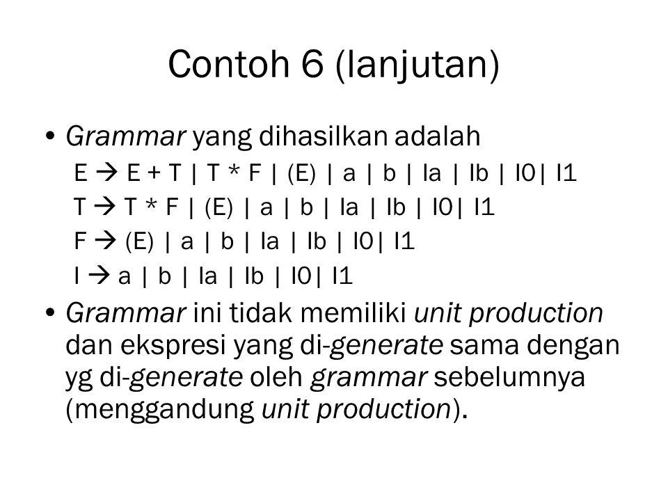 Contoh 6 (lanjutan) Grammar yang dihasilkan adalah