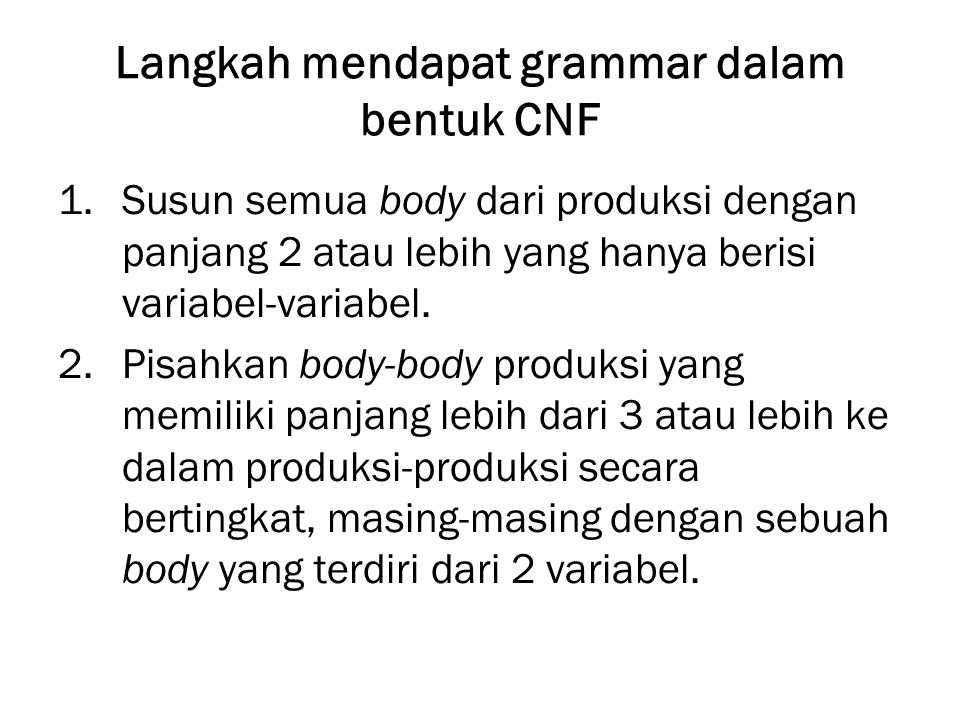 Langkah mendapat grammar dalam bentuk CNF