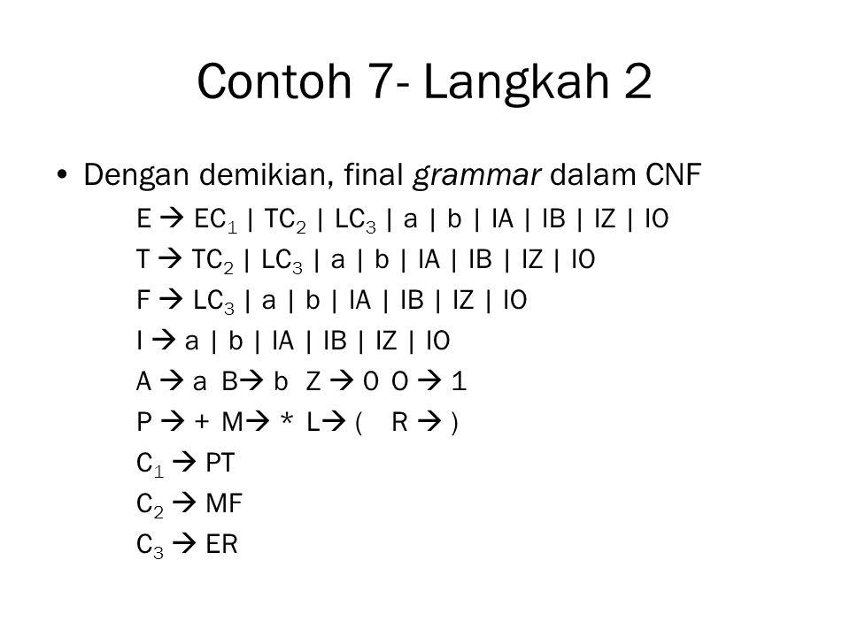 Contoh 7- Langkah 2 Dengan demikian, final grammar dalam CNF