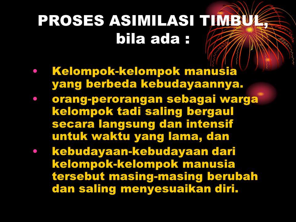PROSES ASIMILASI TIMBUL, bila ada :