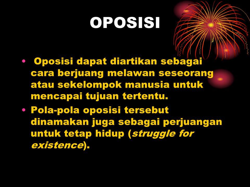 OPOSISI Oposisi dapat diartikan sebagai cara berjuang melawan seseorang atau sekelompok manusia untuk mencapai tujuan tertentu.