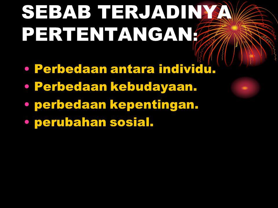 SEBAB TERJADINYA PERTENTANGAN: