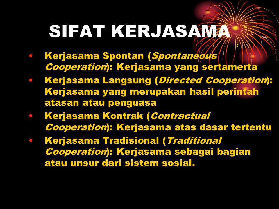 SIFAT KERJASAMA Kerjasama Spontan (Spontaneous Cooperation): Kerjasama yang sertamerta.
