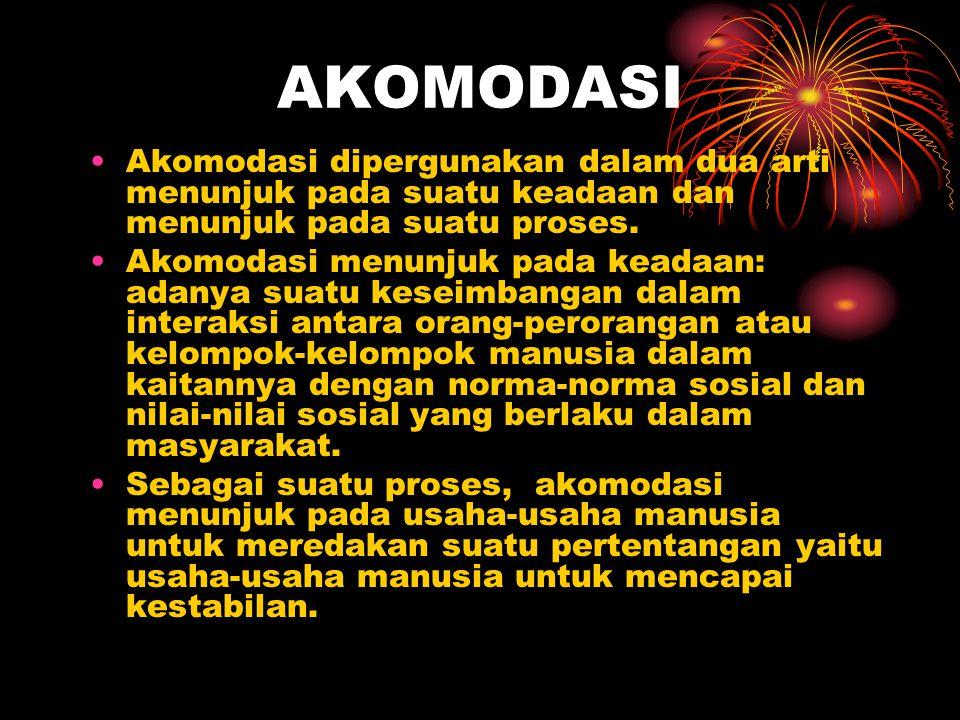 AKOMODASI Akomodasi dipergunakan dalam dua arti menunjuk pada suatu keadaan dan menunjuk pada suatu proses.
