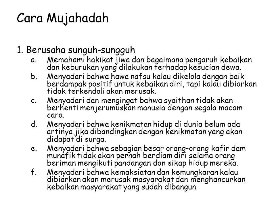 Cara Mujahadah 1. Berusaha sunguh-sungguh
