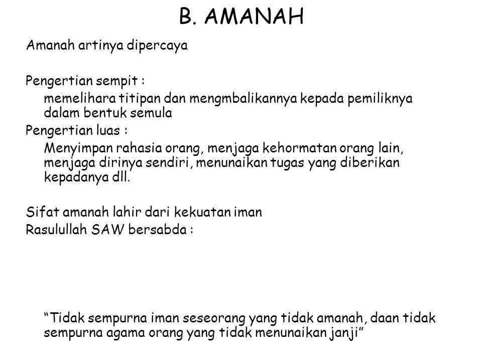 B. AMANAH Amanah artinya dipercaya Pengertian sempit :