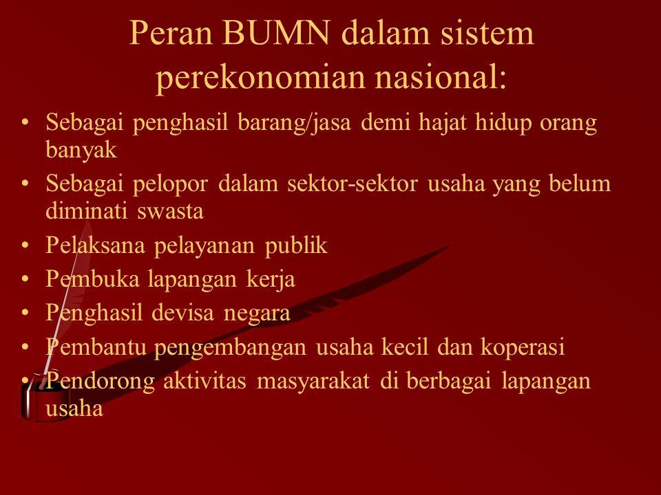 Peran BUMN dalam sistem perekonomian nasional: