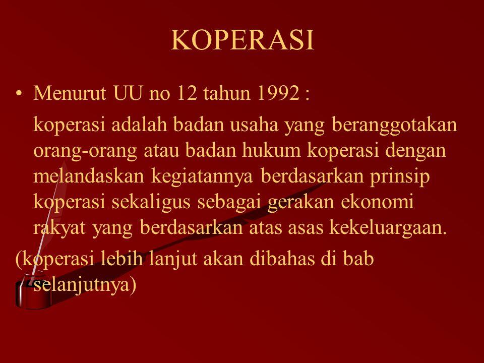 KOPERASI Menurut UU no 12 tahun 1992 :