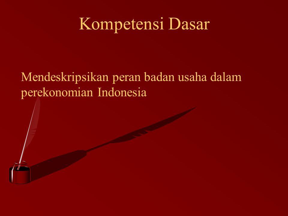 Kompetensi Dasar Mendeskripsikan peran badan usaha dalam perekonomian Indonesia