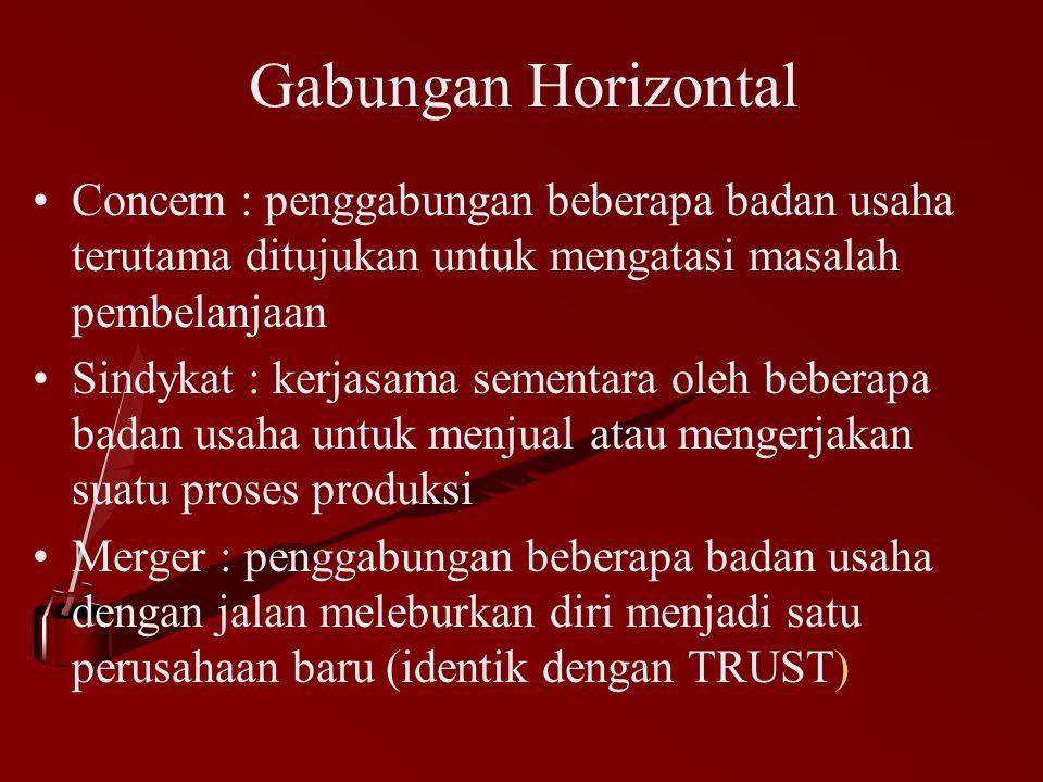 Gabungan Horizontal Concern : penggabungan beberapa badan usaha terutama ditujukan untuk mengatasi masalah pembelanjaan.