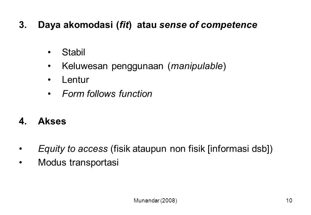Daya akomodasi (fit) atau sense of competence Stabil