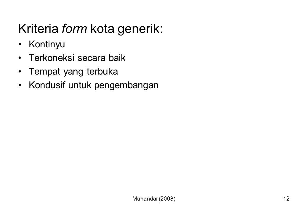 Kriteria form kota generik: