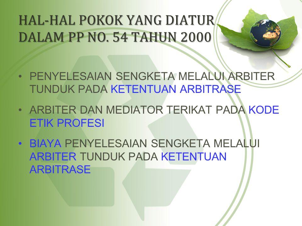 HAL-HAL POKOK YANG DIATUR DALAM PP NO. 54 TAHUN 2000