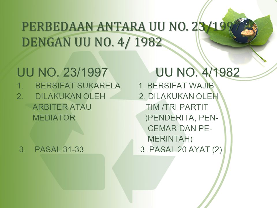 PERBEDAAN ANTARA UU NO. 23/1997 DENGAN UU NO. 4/ 1982