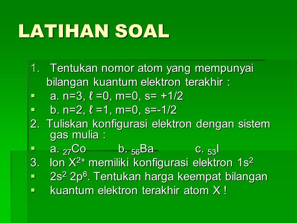 LATIHAN SOAL Tentukan nomor atom yang mempunyai
