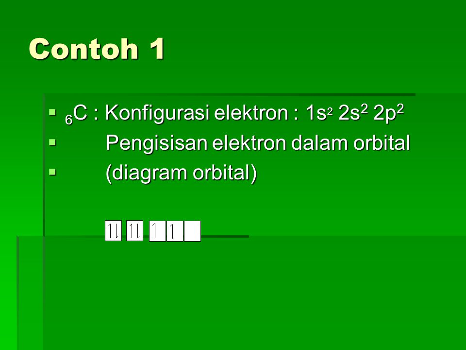 Contoh 1 6C : Konfigurasi elektron : 1s2 2s2 2p2