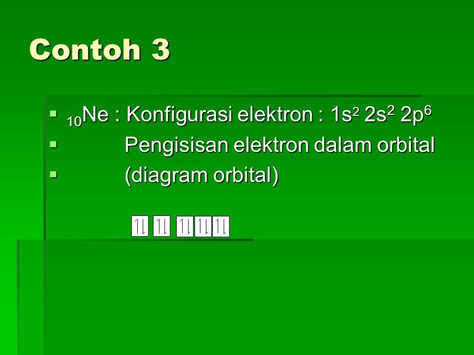 Contoh 3 10Ne : Konfigurasi elektron : 1s2 2s2 2p6