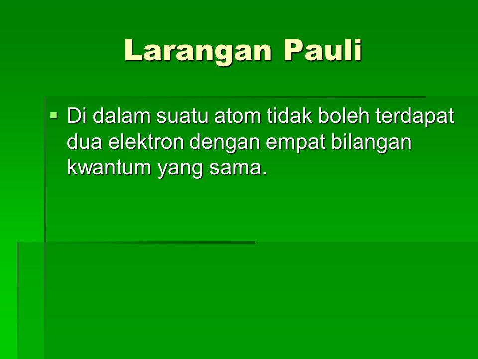 Larangan Pauli Di dalam suatu atom tidak boleh terdapat dua elektron dengan empat bilangan kwantum yang sama.