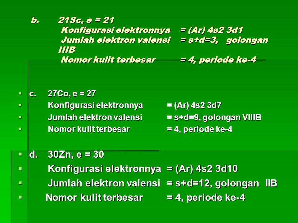 Konfigurasi elektronnya = (Ar) 4s2 3d10