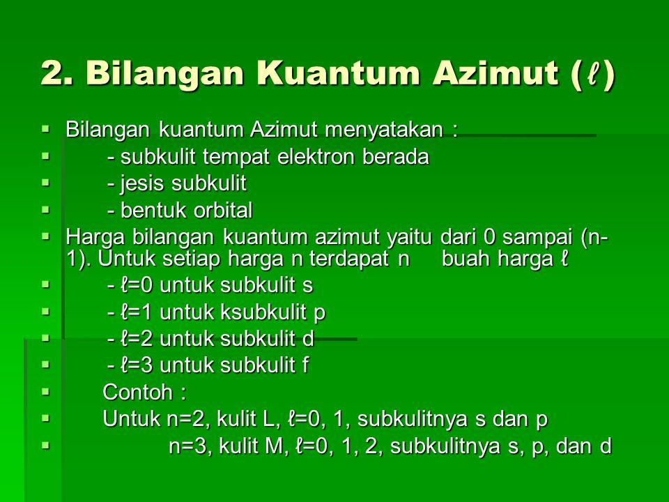 2. Bilangan Kuantum Azimut (ℓ)