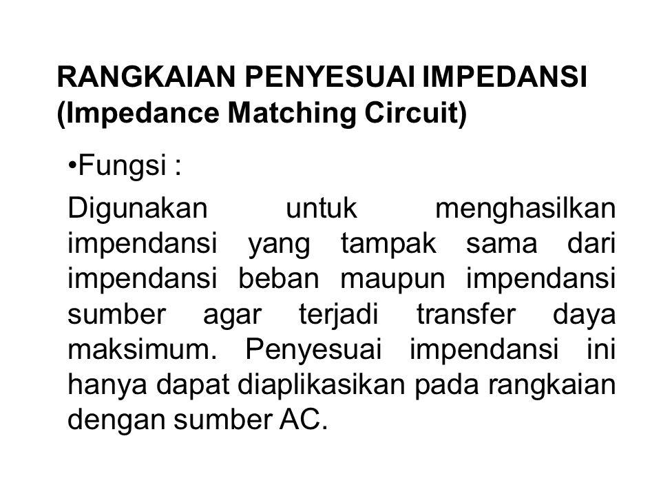 RANGKAIAN PENYESUAI IMPEDANSI (Impedance Matching Circuit)