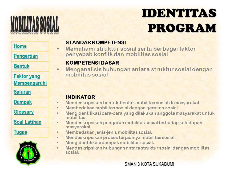 IDENTITAS PROGRAM STANDAR KOMPETENSI. Memahami struktur sosial serta berbagai faktor penyebab konflik dan mobilitas sosial.