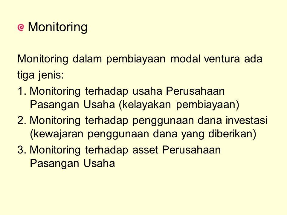 Monitoring dalam pembiayaan modal ventura ada tiga jenis: