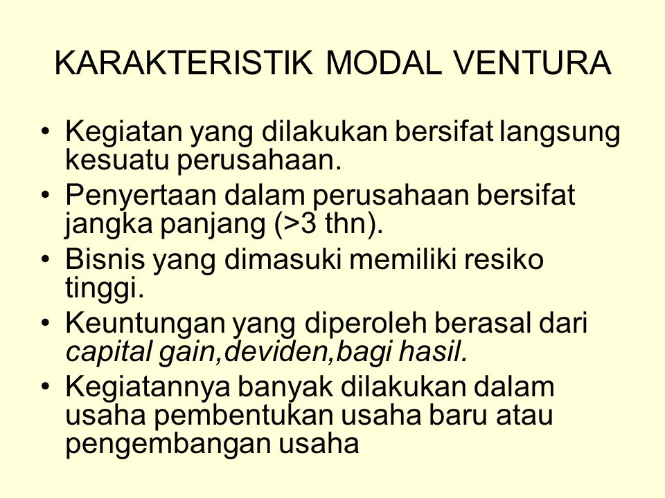 KARAKTERISTIK MODAL VENTURA