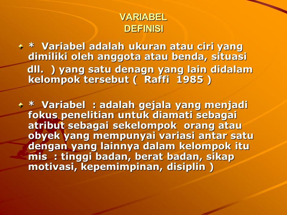 VARIABEL DEFINISI * Variabel adalah ukuran atau ciri yang dimiliki oleh anggota atau benda, situasi.