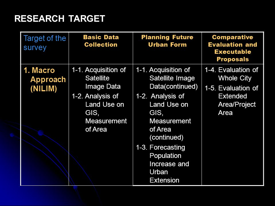 RESEARCH TARGET Target of the survey 1. Macro Approach (NILIM)