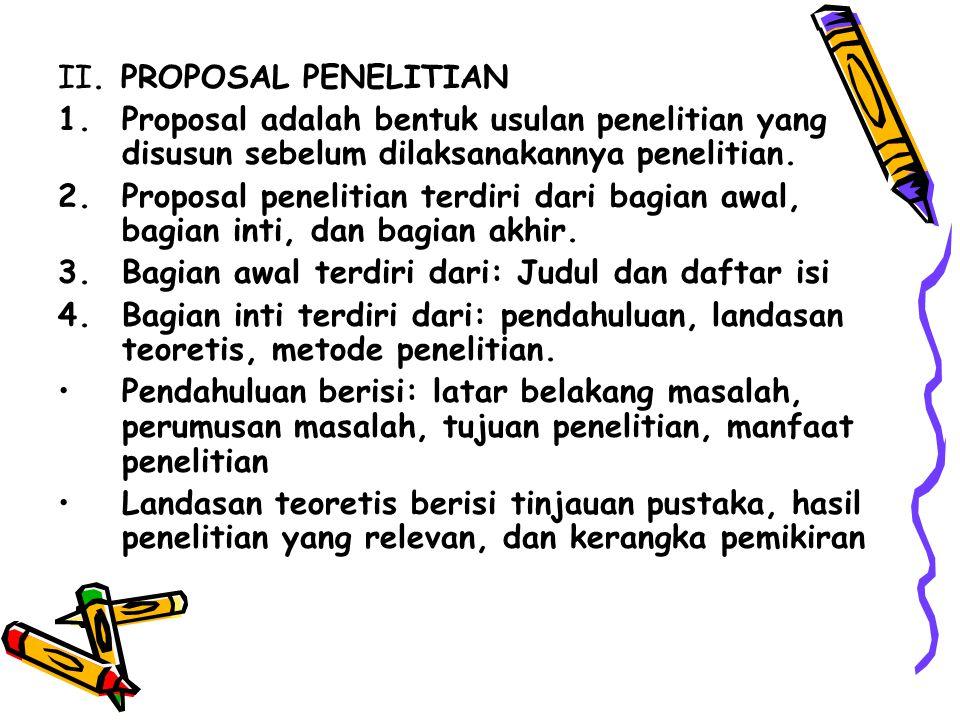II. PROPOSAL PENELITIAN