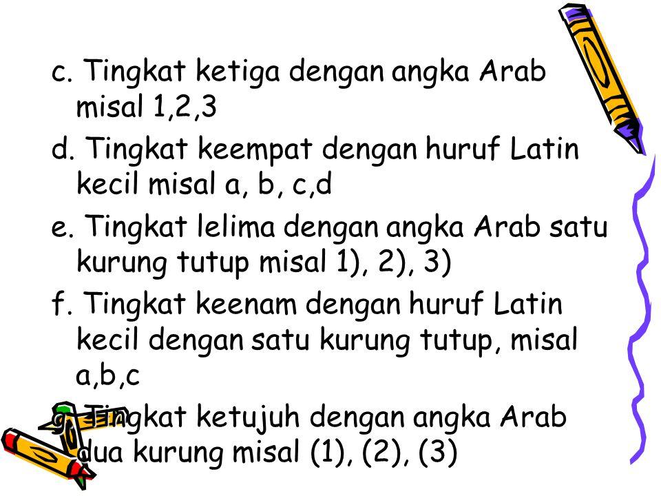 c. Tingkat ketiga dengan angka Arab misal 1,2,3