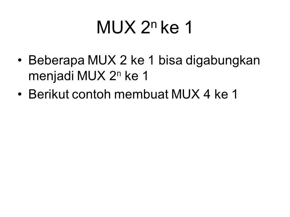 MUX 2n ke 1 Beberapa MUX 2 ke 1 bisa digabungkan menjadi MUX 2n ke 1