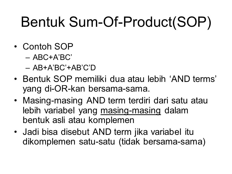 Bentuk Sum-Of-Product(SOP)