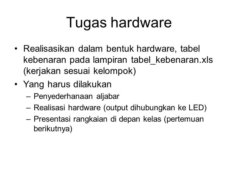 Tugas hardware Realisasikan dalam bentuk hardware, tabel kebenaran pada lampiran tabel_kebenaran.xls (kerjakan sesuai kelompok)