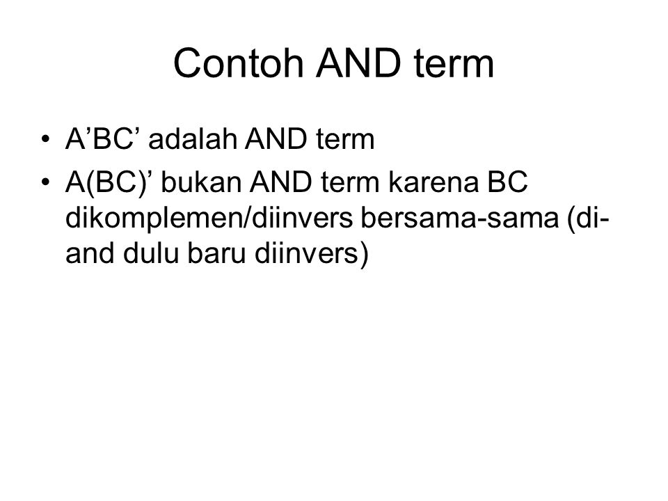 Contoh AND term A'BC' adalah AND term