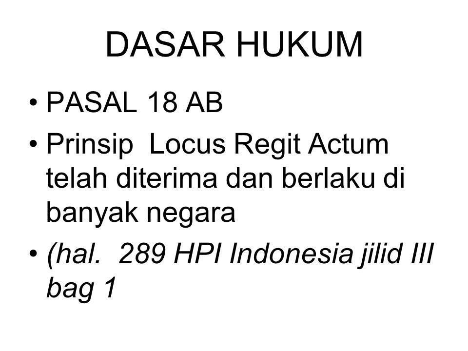 DASAR HUKUM PASAL 18 AB. Prinsip Locus Regit Actum telah diterima dan berlaku di banyak negara.