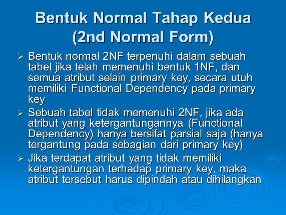 Bentuk Normal Tahap Kedua (2nd Normal Form)