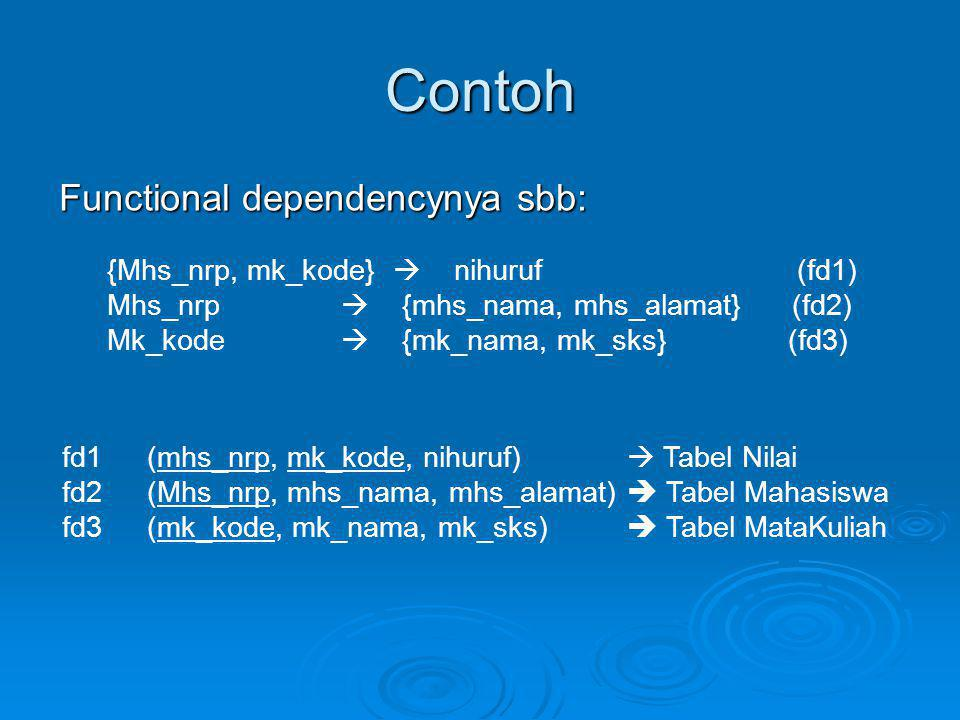 Contoh Functional dependencynya sbb: