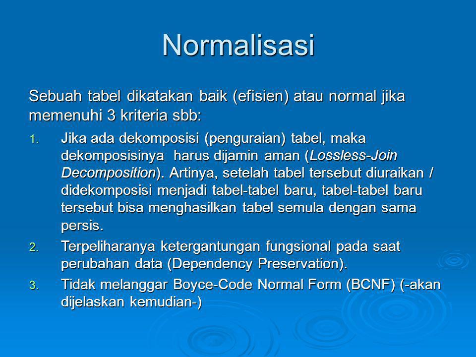 Normalisasi Sebuah tabel dikatakan baik (efisien) atau normal jika memenuhi 3 kriteria sbb: