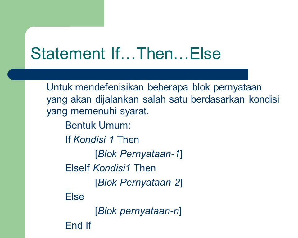 Statement If…Then…Else