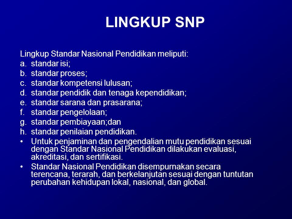 LINGKUP SNP Lingkup Standar Nasional Pendidikan meliputi: