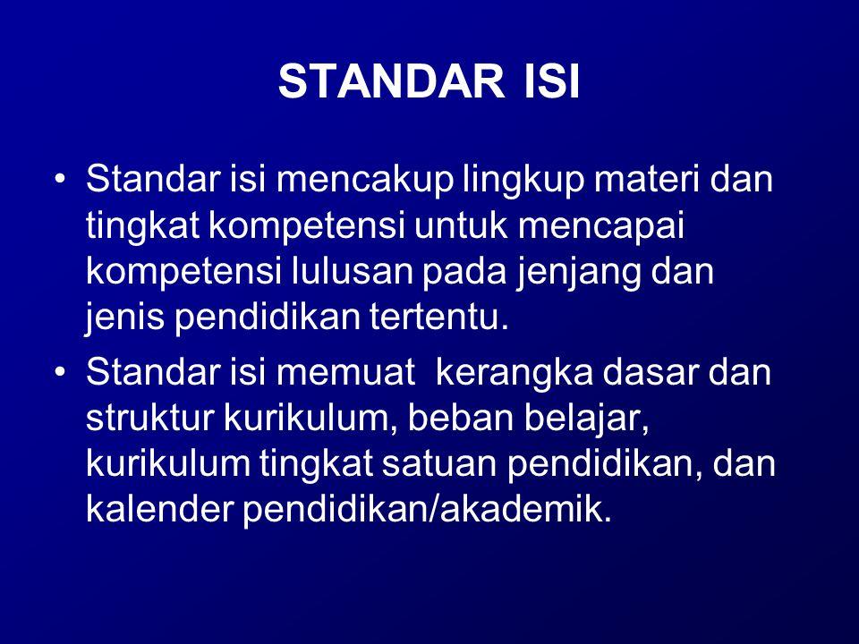 STANDAR ISI Standar isi mencakup lingkup materi dan tingkat kompetensi untuk mencapai kompetensi lulusan pada jenjang dan jenis pendidikan tertentu.