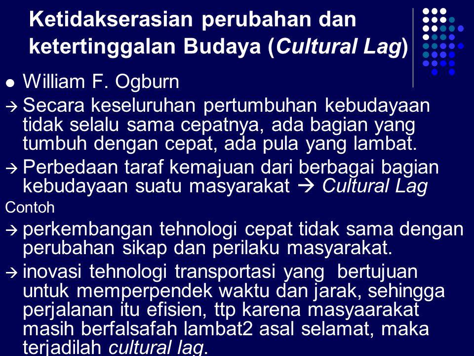 Ketidakserasian perubahan dan ketertinggalan Budaya (Cultural Lag)