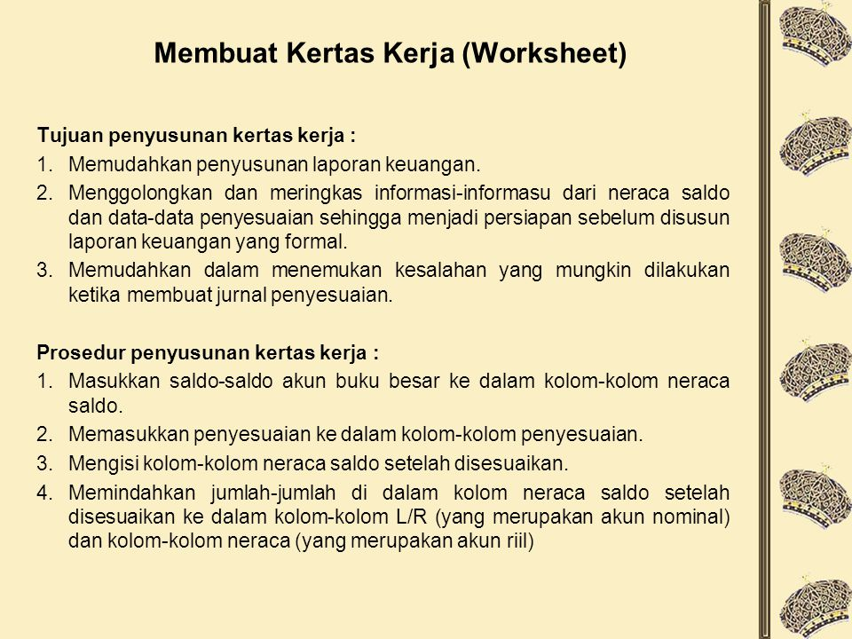 Membuat Kertas Kerja (Worksheet)