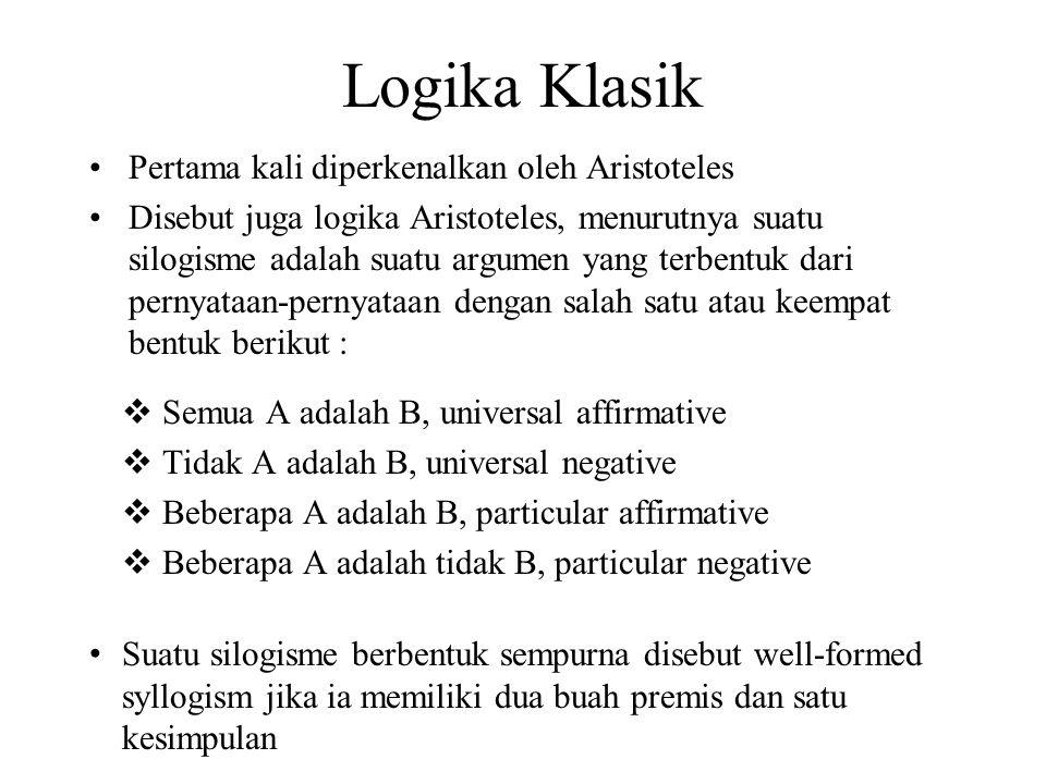 Logika Klasik Pertama kali diperkenalkan oleh Aristoteles