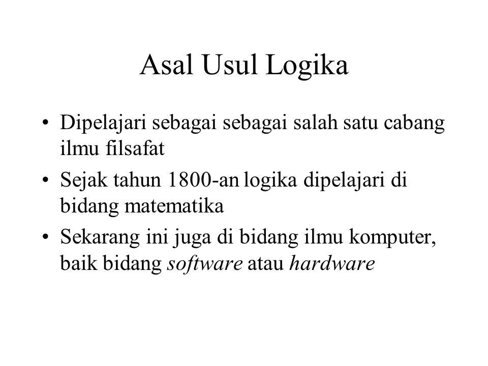 Asal Usul Logika Dipelajari sebagai sebagai salah satu cabang ilmu filsafat. Sejak tahun 1800-an logika dipelajari di bidang matematika.