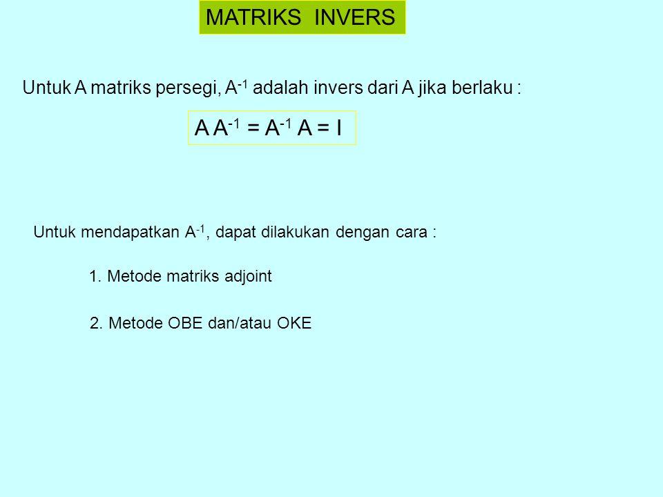 MATRIKS INVERS A A-1 = A-1 A = I