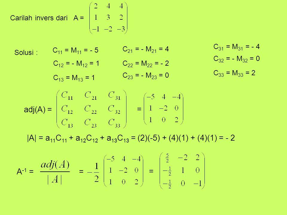 |A| = a11C11 + a12C12 + a13C13 = (2)(-5) + (4)(1) + (4)(1) = - 2