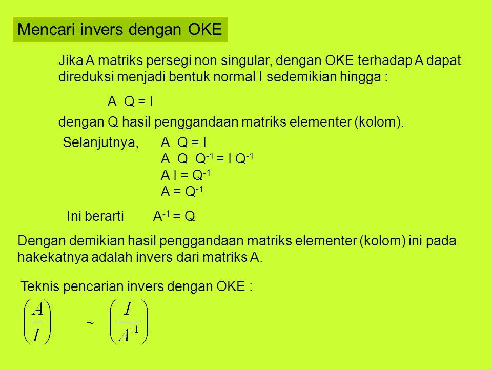 Mencari invers dengan OKE
